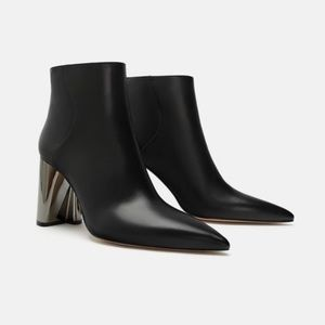 Zara High Heel Leather Ankle Boots